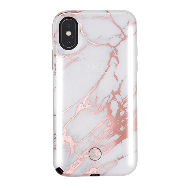 reputable site 9d08c 5c1dc Details about LuMee Duo selfie case - front and back lights, iPhone XS Max,  Rose White Marble