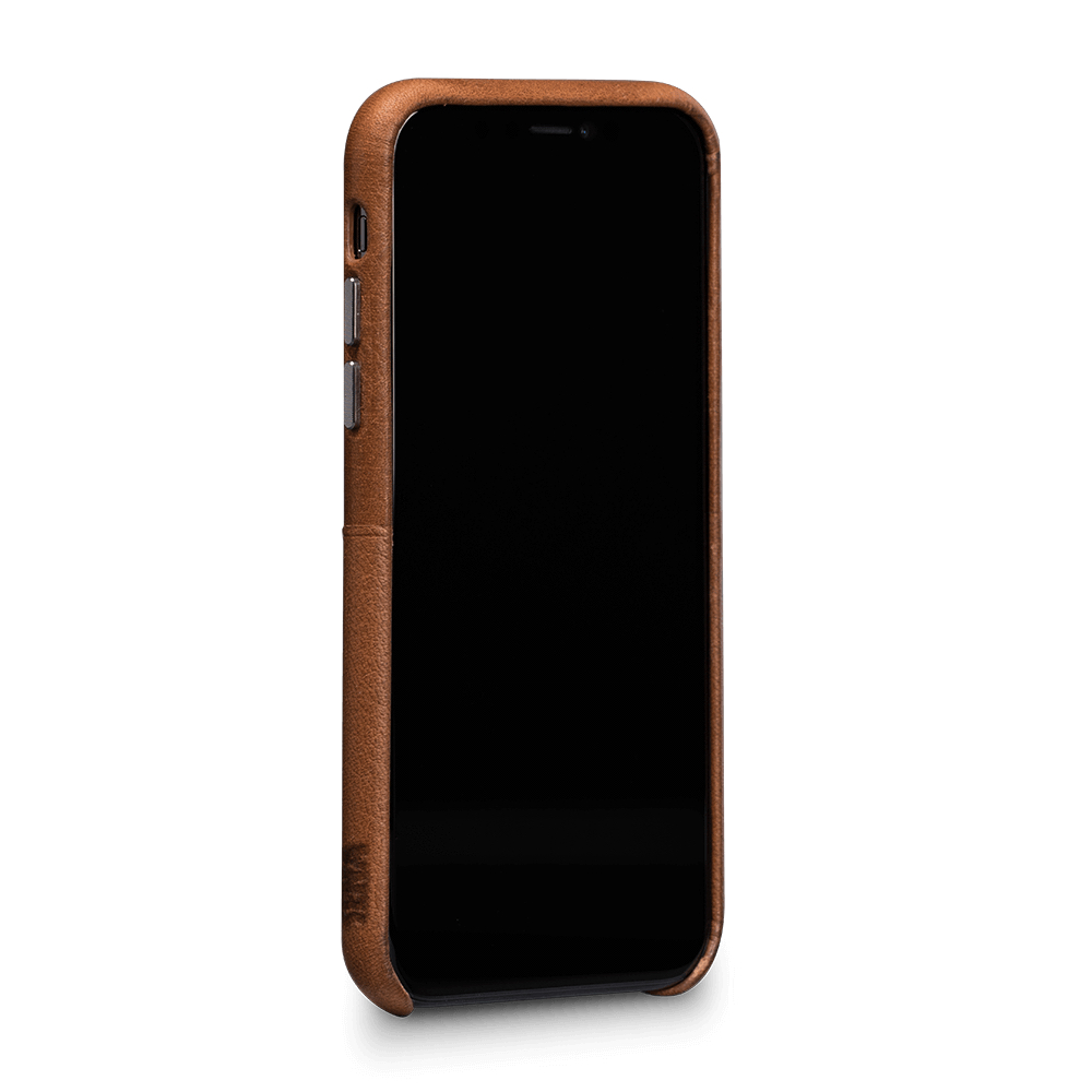differently 96101 43ec2 Details about SENA Bence Snap-on genuine Leather Wallet case, card pockets,  iPhone X/XS, Brown